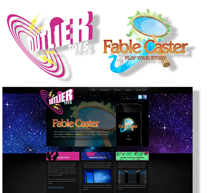 Outlier Toys and Fable Caster Logo and Website